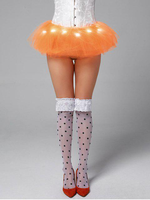 hot Tier Mesh Light Up Ballet Cosplay Skirt - ORANGE ONE SIZE Mobile