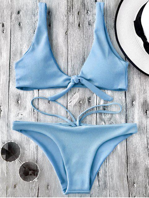 trendy Knotted Textured Scoop Bikini Set - LIGHT BLUE L Mobile