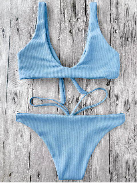 chic Knotted Textured Scoop Bikini Set - LIGHT BLUE S Mobile