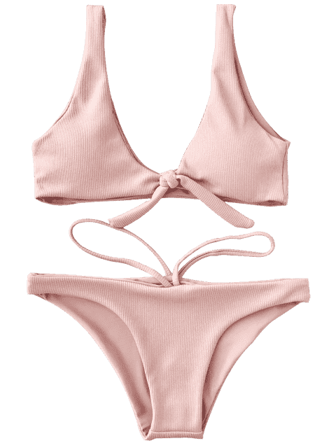 shops Knotted Textured Scoop Bikini Set - PINK M Mobile