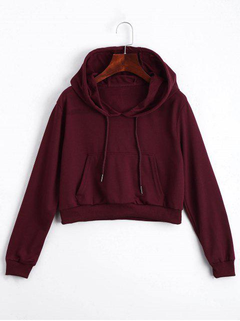 fashion Front Pocket Crop Hoodie - DEEP RED S Mobile