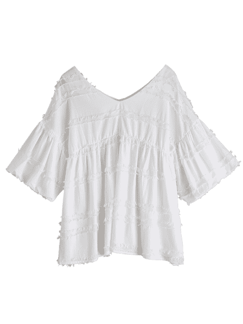 V Neck Lantern Sleeve Plain Blouse - Blanc XL Mobile