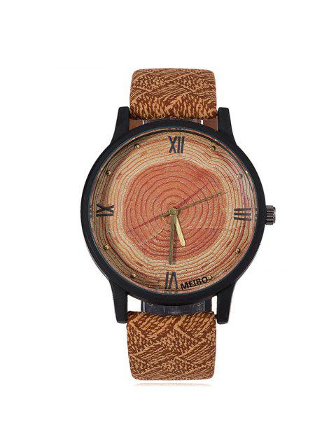 sale Wood Growth Rings Face Faux Leather Watch - BROWN  Mobile