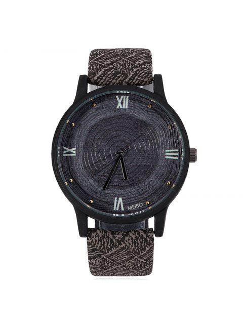 buy Wood Growth Rings Face Faux Leather Watch - BLACK  Mobile