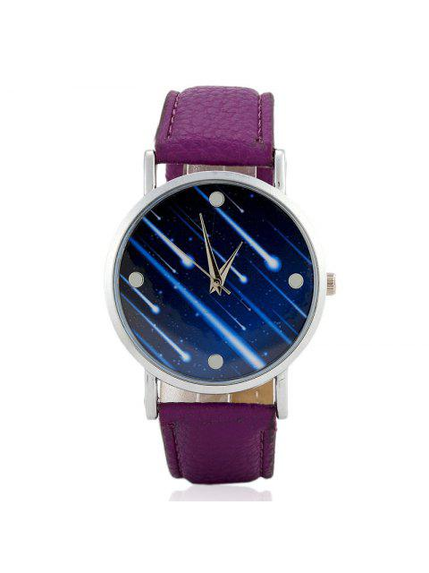 Faux Leather Strap Meteor Shower Face Watch - Pourpre  Mobile