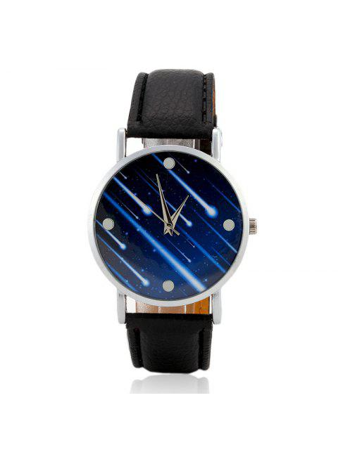 women's Faux Leather Strap Meteor Shower Face Watch - BLACK  Mobile