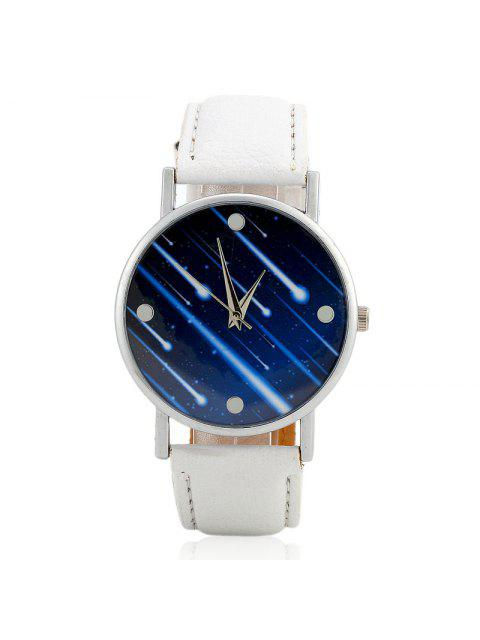 ladies Faux Leather Strap Meteor Shower Face Watch - WHITE  Mobile