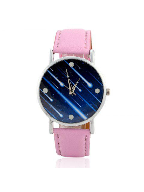 lady Faux Leather Strap Meteor Shower Face Watch - PINK  Mobile