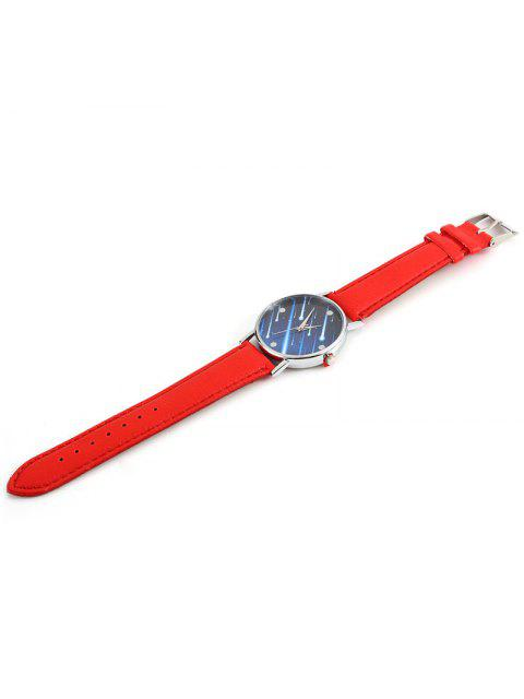 Faux Leather Strap Meteor Shower Face Watch - Rouge  Mobile