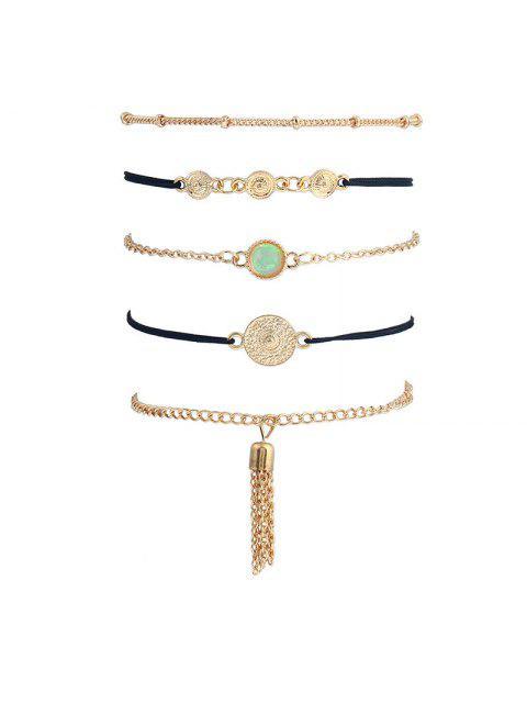 new Faux Gem Fringed Chain Bracelet Set - GOLDEN  Mobile