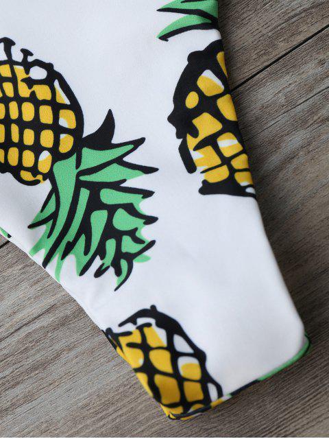 ladies Pineapple Print Thong Bottom Bikini Set - WHITE M Mobile