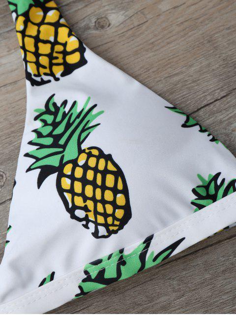 fashion High Cut Pineapple Print Bikini Set - GREEN M Mobile