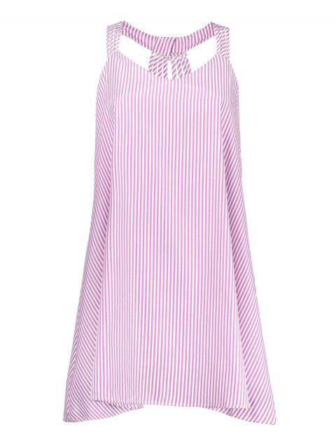 hot Plus Size Striped Strappy Flare Dress - PINK 4XL Mobile
