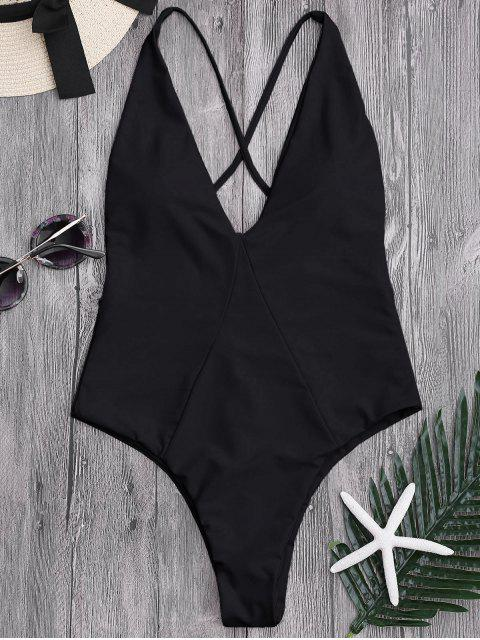 fancy One-piece High Cut Cross Back Swimwear - BLACK L Mobile