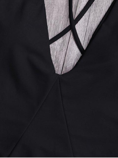 Высокий вырез Крест спина Слитный Купальник - Чёрный M Mobile