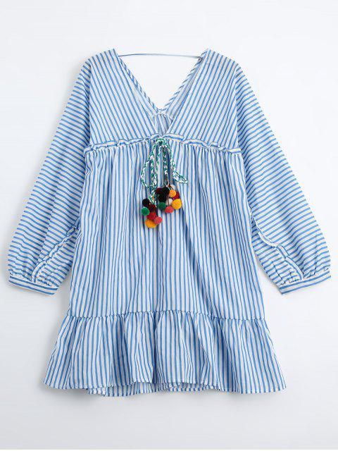affordable Ruffles Striped Tunic Dress with Fuzzy Balls - STRIPE M Mobile