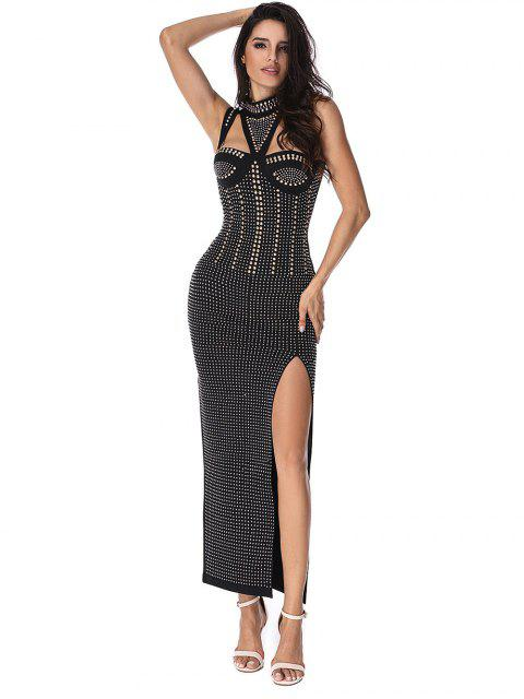best Beaded Embellished Cut Out Slit Prom Dress - BLACK M Mobile