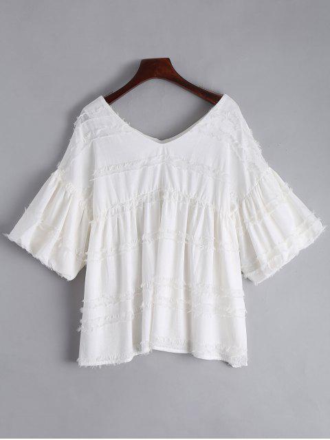 V-Ausschnitt Laterne Ärmel Uni Bluse - Weiß L Mobile