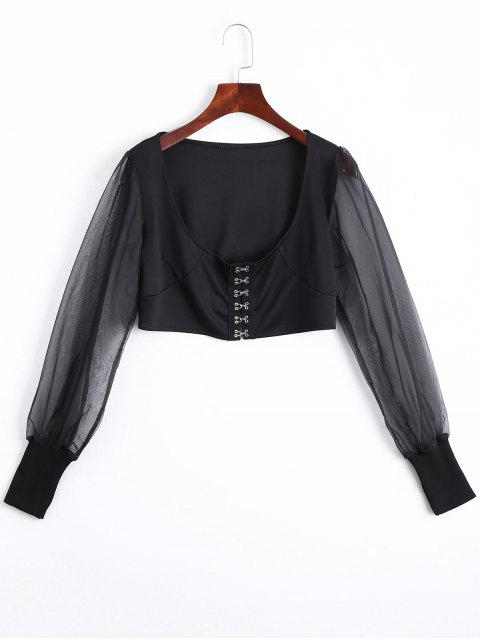 sale U Neck Organza Panel Crop Jacket - BLACK M Mobile