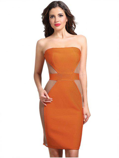 shop Strapless Mesh Panel Sheer Dress - ORANGE S Mobile
