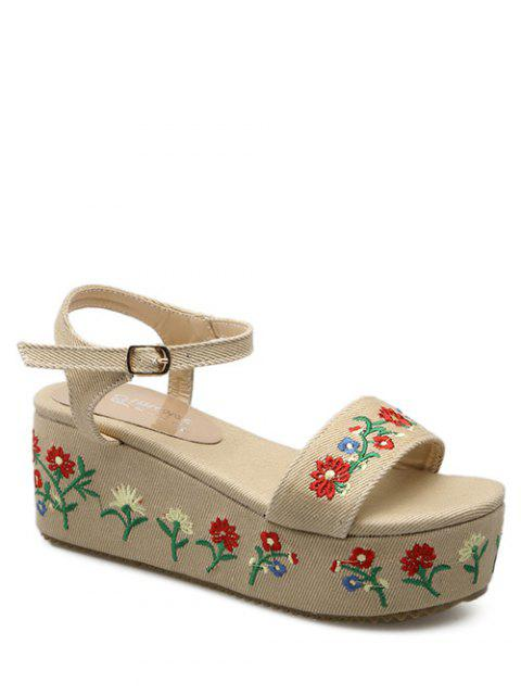 hot Denim Embroidery Platform Sandals - APRICOT 37 Mobile