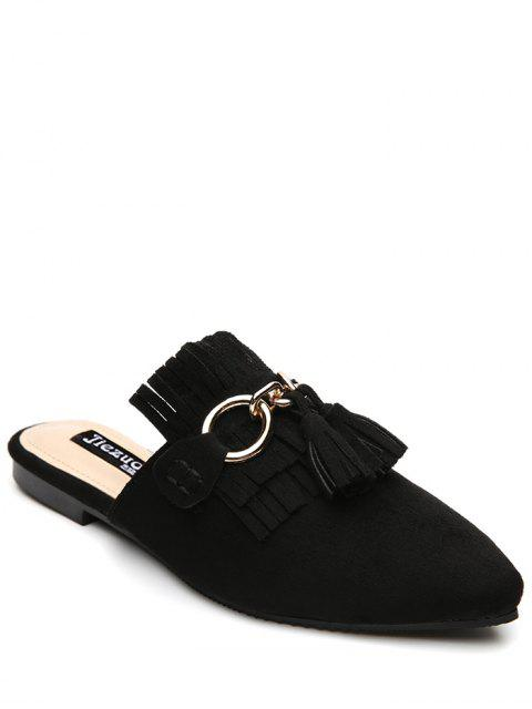 trendy Pointed Toe Flat Heel Tassels Slippers - BLACK 37 Mobile