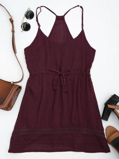 Spaghetti Straps Drawstring Waist Summer Dress - Wine Red M