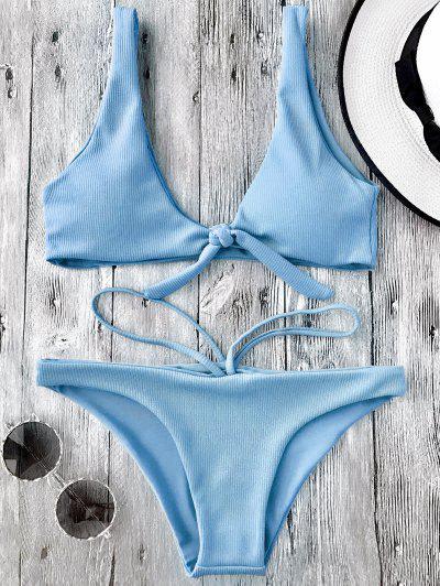 Traje De Baño Con Textura - Piel - Azul Claro M