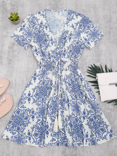 Smocked Panel Button Up A Line Dress - Blue And White S