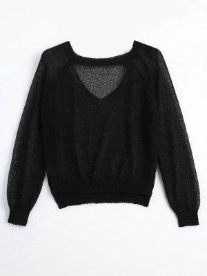 Sheer Choker Knitwear - Black