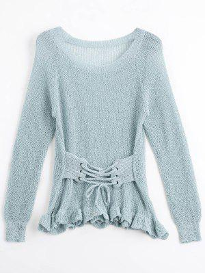 Sheer Ruffles Lace Up Knitwear - Gray