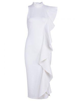 Ruffle Hem Sleeveless Fitted Dress - White - White L