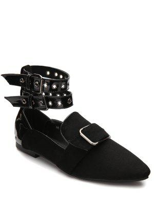 Buckle Straps Eyelets Pointed Toe Flat Shoes - Black 39