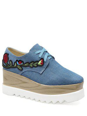 Denim Square Toe Embroidery Wedge Shoes - Denim Blue 39