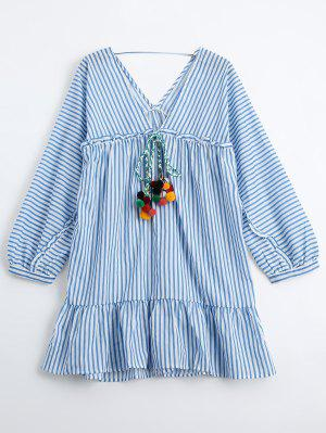 Ruffles Striped Tunic Dress With Fuzzy Balls - Rayure M