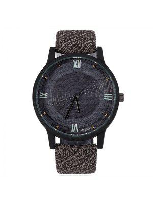 Wood Growth Rings Face Faux Leather Watch - Black