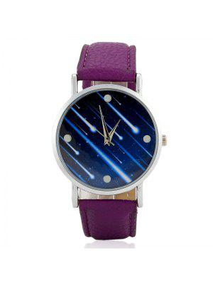 Faux Leather Strap Meteor Shower Face Watch - Pourpre