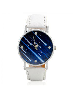 Faux Leather Strap Meteor Shower Face Watch - Blanc