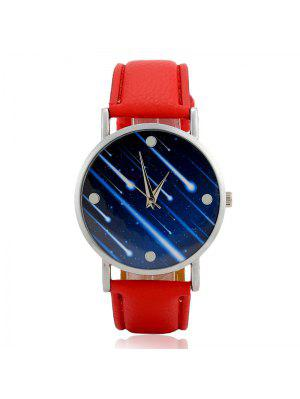 Faux Leather Strap Meteor Shower Face Watch - Rouge
