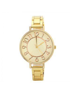 Number Alloy Strap Quartz Watch - Golden