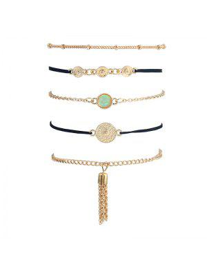 Faux Gem Fringed Chain Bracelet Set - Golden
