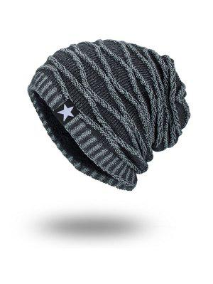 Velvet Lining Wave Striped Knitted Beanie