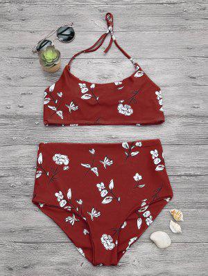 Slimming Control High Waisted Bralette Bikini Set - Vermelho S