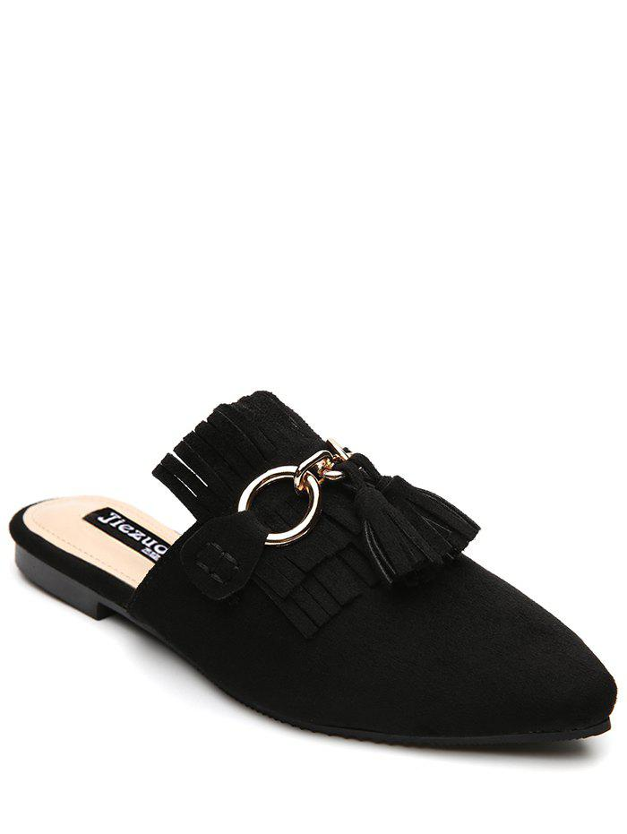 Pointed Toe Flat Heel Tassels Slippers 219541202