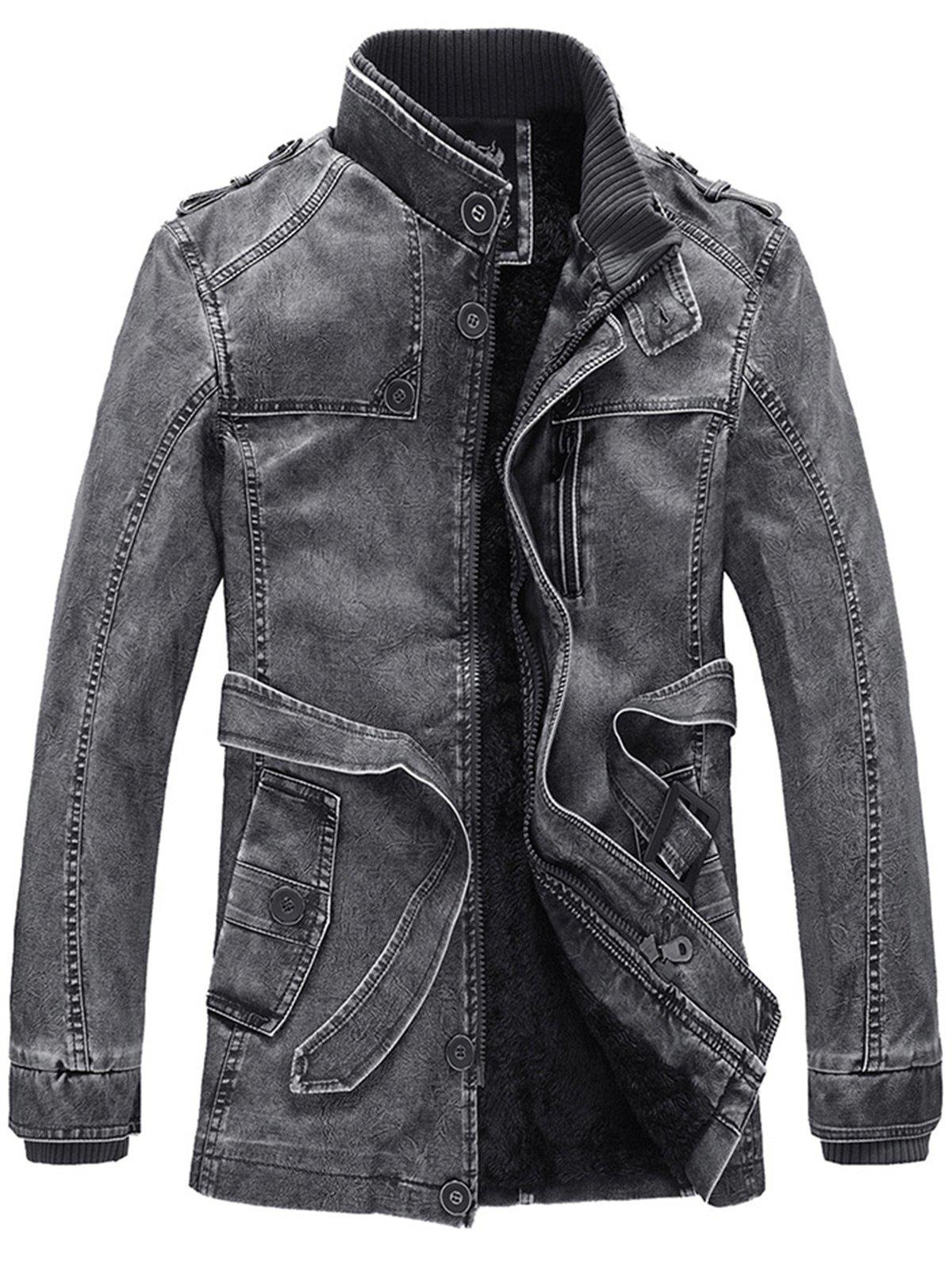 Stand Collar Rib Panel Epaulet Fleece PU Leather Coat with Belt 219541004