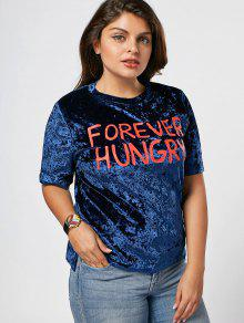 Letter Crushed Velvet Plus Size Top - Blue 3xl