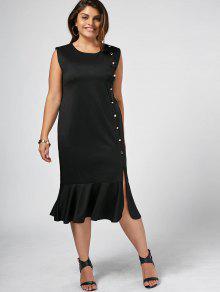 Slit Button Up Mermaid Plus Size Dress - Black 3xl