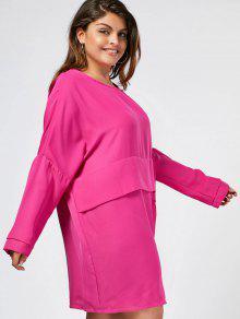 Keyhole Plus Size Layered Casual Dress - Sangria 2xl