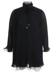 Plus Size Bow Tie Ruffles Dress - Black 2xl