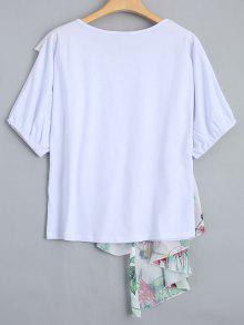 243;n Volantes Impresi Camiseta Floral Los La Blanco L De De TFFIwqgn